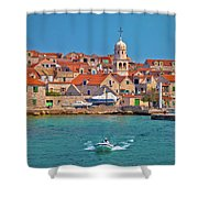 Prvic Sepurine Waterfront And Stone Architecture View Shower Curtain