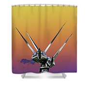 Psychedelic Metal Sculpture Of Two Swans Flying Shower Curtain