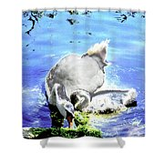 Psychedelic Mute Swan And Cygnet Feeding Shower Curtain