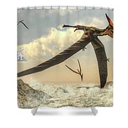 Pteranodon Birds Flying - 3d Render Shower Curtain