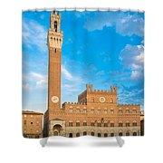 Public Palace With The Torre Del Mangia In Siena, Tuscany Shower Curtain