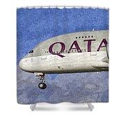 Qatar Airlines Airbus A380 Art Shower Curtain