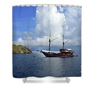 Silent Diving Bay On The Coast Of Sulawesi Shower Curtain