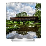 Quiet Serenity Of A Ohio Backcountry Covered Bridege Shower Curtain