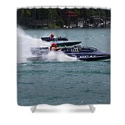 Racing Hydroplanes Boats On The Detroit River For Gold Cup Shower Curtain