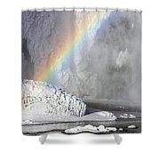 Rainbow Over Skogarfoss Waterfall Shower Curtain