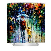Rainy Walk With Daddy Shower Curtain