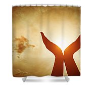 Raised Hands Catching Sun On Sunset Sky. Concept Of Spirituality, Wellbeing, Positive Energy Shower Curtain