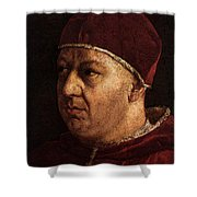 Raphael Pope Leo X With Cardinals Giulio De  Medici And Luigi De  Rossi  Shower Curtain