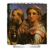 Raphael St Cecilia With Sts Paul John Evangelists Augustine And Mary Magdalene  Shower Curtain