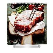 Raw Beef Steak And Wine Shower Curtain