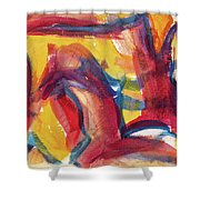 Red Abstract Painting Shower Curtain
