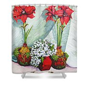 Red Amaryllis With Shooting Star Hydrangea Shower Curtain