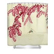 Red Autumnal Leaves Insect Shower Curtain