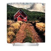 Red Barn Road Shower Curtain