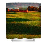 Rolling Hills And Red Barn, Rock Island, Tennessee Shower Curtain