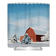 Red Barn With Snow Shower Curtain