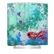 1 Red Fish Shower Curtain