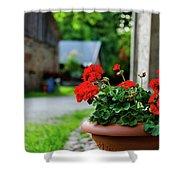 Red Garden Geranium Flowers In Pot , Close Up Shot / Geranium Fl Shower Curtain