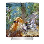 Red-haired Girl Sitting On A Veranda Shower Curtain
