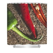 Red Hot Peppers On Wooden  Cutting Board Shower Curtain
