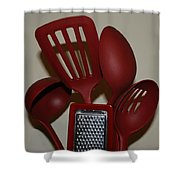 Red Kitchen Utencils Shower Curtain