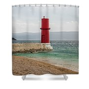 Red Lighthouse Of Cres On A Cloudy Day In Spring Shower Curtain