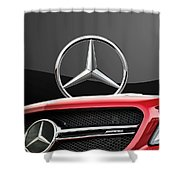 Red Mercedes - Front Grill Ornament And 3 D Badge On Black Shower Curtain by Serge Averbukh