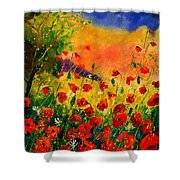 Red Poppies 451 Shower Curtain