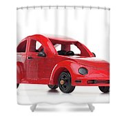 Red Retro Wooden Toy Car Isolated On White Background Shower Curtain