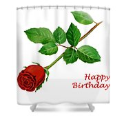 Red Rose Happy Birthday  Shower Curtain