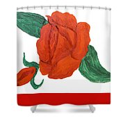 Red Rose, Oil Painting Shower Curtain