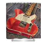 Red Telecaster Shower Curtain