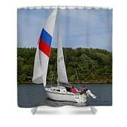Red White And Blue Sails Shower Curtain