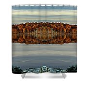Mirrored Panoramic, Reflecting Fall  From The Banks Of  Bishop Pond Shower Curtain