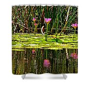 Reflective Wild Water Lilies Shower Curtain