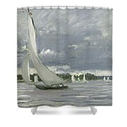 Regatta At Argenteuil Shower Curtain by Claude Monet