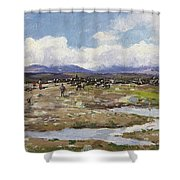 Reindeer On The Mountain Shower Curtain
