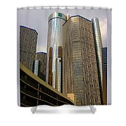 Renaissance Center In Detroit Shower Curtain by Guy Ricketts