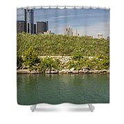 Renaissance Center In Detroit  Shower Curtain