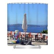 Restaurant By The Aegean Sea  In Santorini, Greece  Shower Curtain