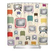 retro TV pattern  Shower Curtain by Setsiri Silapasuwanchai