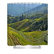 Rice Terraces In Guilin, China  Shower Curtain