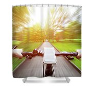 Riding A Bike First Person Perspective. Smartphone On Handlebar. Speed Motion Blur Shower Curtain