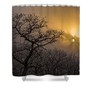 Rime Ice And Fog At Sunset - Telephoto Shower Curtain