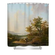 River Landscape With Views Of A Castle And Town Shower Curtain