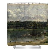River Scene With Ducks Shower Curtain