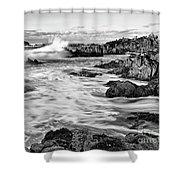 Rocky Asilomar Beach In Monterey Bay At Sunset. Shower Curtain