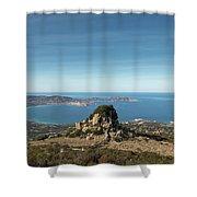 Rocky Outcrop Above Calvi Bay In Corsica Shower Curtain