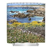 Rocky Surf With Wildflowers Shower Curtain